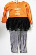 Carter's Baby Girls Halloween Bodysuit & Tutu Leggings Set Orange Sz 12M - NWT