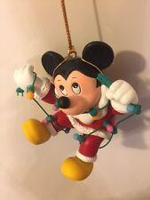 Grolier Disney Ornament Mickey Mouse Santa Light Garland Gift Present Porcelain