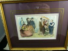 FRAMED Vintage VICTORIAN HAND TINTED engraving/litho CAPE MAY SCENES