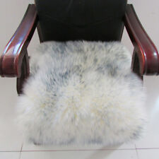 Artificial Sheepskin Square Rug Car Chair Seat Cushion 40x40cm White Gray