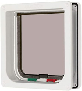 """Cat Mate 4 Way Locking Cat Flap with Door Liner to 50mm 2"""", White 235W"""