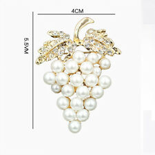 Rose Clip Pins Gold Flower Crystal Plated Gold Grapes Brooch Rhinestone Pearl