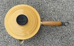 Le Creuset Yellow Pan with Lid and Teak Handle 16cm