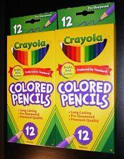 2 X Crayola 12 Count (Long Barrel) Colored Pencils Box (2 Box Lot) *New In Box!