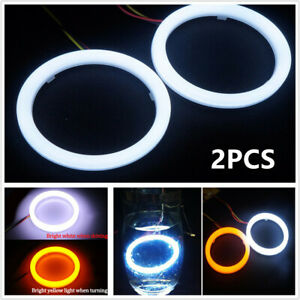 Car COB LED Angel Eyes Halo Ring Lamp w/ Turn Signal Light White Amber 60mm Pair
