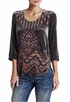 💕JWLA Johnny Was TISHA AZTEC Velvet Embroidered V Veck Tunic Blouse L $278 💕
