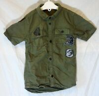 Boys River Island Green Skull Panther Short Sleeve Casual Shirt Age 2-3 Years