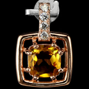REAL AAA ORANGISH YELLOW CITRINE CUSHION & WHITE CZ STERLING 925 SILVER PENDANT