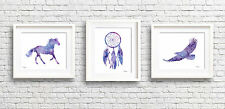 Set of 3 Horse Dreamcatcher Eagle Watercolor Paintings 11 x 14 Purple Art Prints
