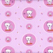 Textiles français Teddy & Rabbit Pink Children's fabric 100% Cotton 160 cm wide