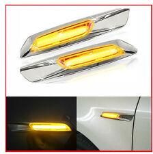 2x Chrome F10 Style LED Side Turn ligths signal For BMW E60 E82 E87 E88 E90 E91