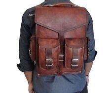 Real genuine mens leather backpack bag satchel briefcase laptop brown vintage