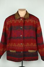 Vintage Woolrich Womens XL Red Patterned All Over Print Wool Jacket Coat USA