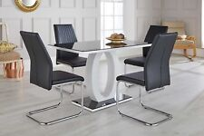 GIOVANI Black White High Gloss Glass Dining Table Set and 4 Leather Chairs Seats