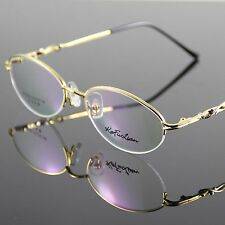 Glasses Eyewear Eyeglasses Metal Halfrim Frame Gold Spectacles Optical Oval RX