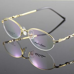 Glasses Eyewear Eyeglasses Metal Halfrim Frame Gold Spectacles Optical Oval RX