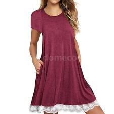 Women's Casual Short Sleeve Loose Tunic Top Shirt Blouse Dress Plus Size P2X5