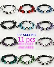 Wholesale 11pcs Girls Handmade Fashion Crystal&Rhinestone Shamballa Bracelets
