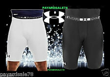 """MEN'S UNDER ARMOUR COMPRESSION SHORTS BLACK WHITE 7"""" INSEAM BASE LAYER FOOTBALL"""