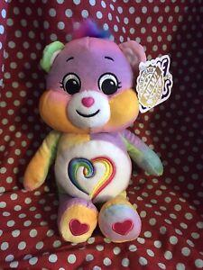 "TOGETHERNESS BEAR 9"" Rainbow Heart CARE BEARS Plush Bean Stuffed Animal 2021"