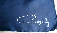 Anne Fogarthy Silk Scarf Blue Vtg David E. Schwab Japan Made 23 x 23 Gift