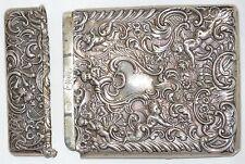 1895 Victorian Silver Cigarette/Card Case, Winged Cherubs ~ William Comyns, 1905