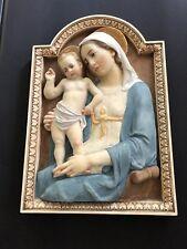Antique MOTHER MARY BABY JESUS DAPRATO STATUARY CHURCH WALL PLAQUE RELIGIOUS