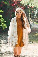 LETO Bohemian Embroidered Cream Lace Floral Kimono Scarf Cover-up OS