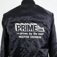 VTG PRIME INC REEFER DIVISION TRUCKING BLACK SNAP BUTTON USA MADE SATIN JACKET L