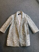 ZARA Blazer BLUE WHITE Jacket Coat SIZE XS UK 6 8