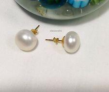 18K yellow GP 925 Silver 7-13mm freshwater pearl stud earring Multi Options