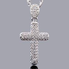 Christmas Gift Xmas Brass Pendant Silver Cross Topaz Stone Free Necklace Chain