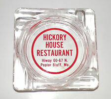 Vintage Glass Ashtray Hickory House Restaurant Poplar Bluff MO Hiway 60-67 N