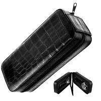 Uhrenbox Uhrenetui für 2 x Uhr - KROKO - Doppelbox Reiseetui schwarz