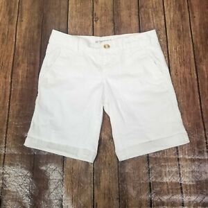 "Aeropostale Chino Shorts Juniors 1/2 White Pockets Low Rise 27"" Waist Stretch"