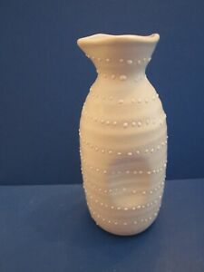 "crate and barrel white sake pitcher creamer with dots. 6"" tall. Porcelain"
