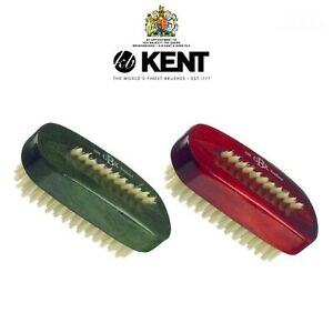 Kent NAIL BRUSH ART8S Stained Wood Natural White Bristle Wooden GREEN, RED