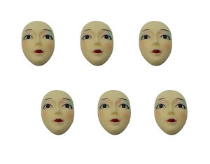 Lot of 6 Painted Poly Porcelain Lady Face Head for Craft Jewelry Cameo Brooch