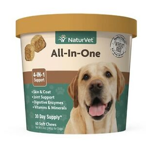 NaturVet ALL-IN-ONE Soft Chew Dogs Skin and Coat Joint Support - 60ct Cup