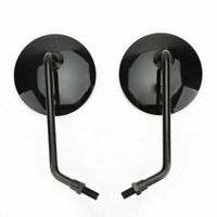 Round Universal Rearview Mirrors Pair 10mm Motorcycle Motorbike Scooter Blk New