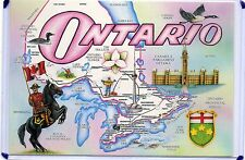 TOURIST MAP POSTCARD-ONTARIO,CANAD-MOUNTED POLICE & PROVINCIAL SHIELD