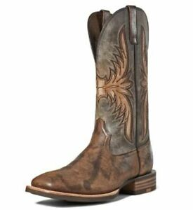 Ariat Mens Crosswire Wide Square Toe Western Boots Stone/Worn Graphite #10035918