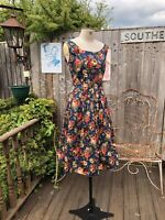 SIZE 16 1950S VINTAGE STYLE BLUE AND MULTI FLORAL FIT AND FLARE DRESS LINDY BOP
