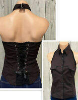 TRIPP NYC Corset Halter vest Top laced up Small Black red Punk Goth Grunge Y2K