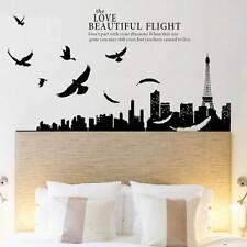 Wall sticker PARIS SKYLINE adesivo parete paesaggio Parigi Torre Eiffel uccelli