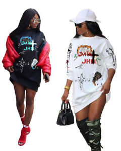 US Women Printed Crew Neck Long Puff Sleeves Street Style Casual T-Shirt Dress