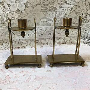 Pair Of Unique Handmade Brass Arts & Crafts Candlesticks