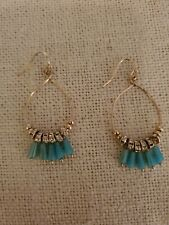 GORGEOUS Turquoise Crystal Gold Dangle Earrings