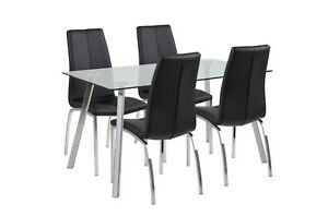 Designer Glass & Chrome Dining Table with 4 Black Faux Leather & Chrome Chairs