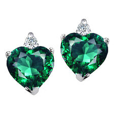 2.03 CARAT 14K YELLOW OR WHITE GOLD COVERED SILVER HEART EMERALD STUD EARRINGS